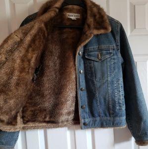 MARVIN RICHARDS Faux mink lined denim jacket